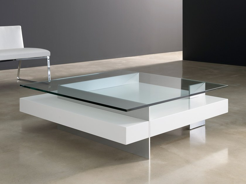 lacquered square glass coffee table