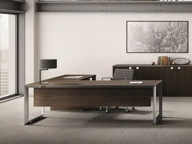 Steel and Wood Office desks   Archiproducts L shaped steel and wood office desk 45 90   Steel and wood office