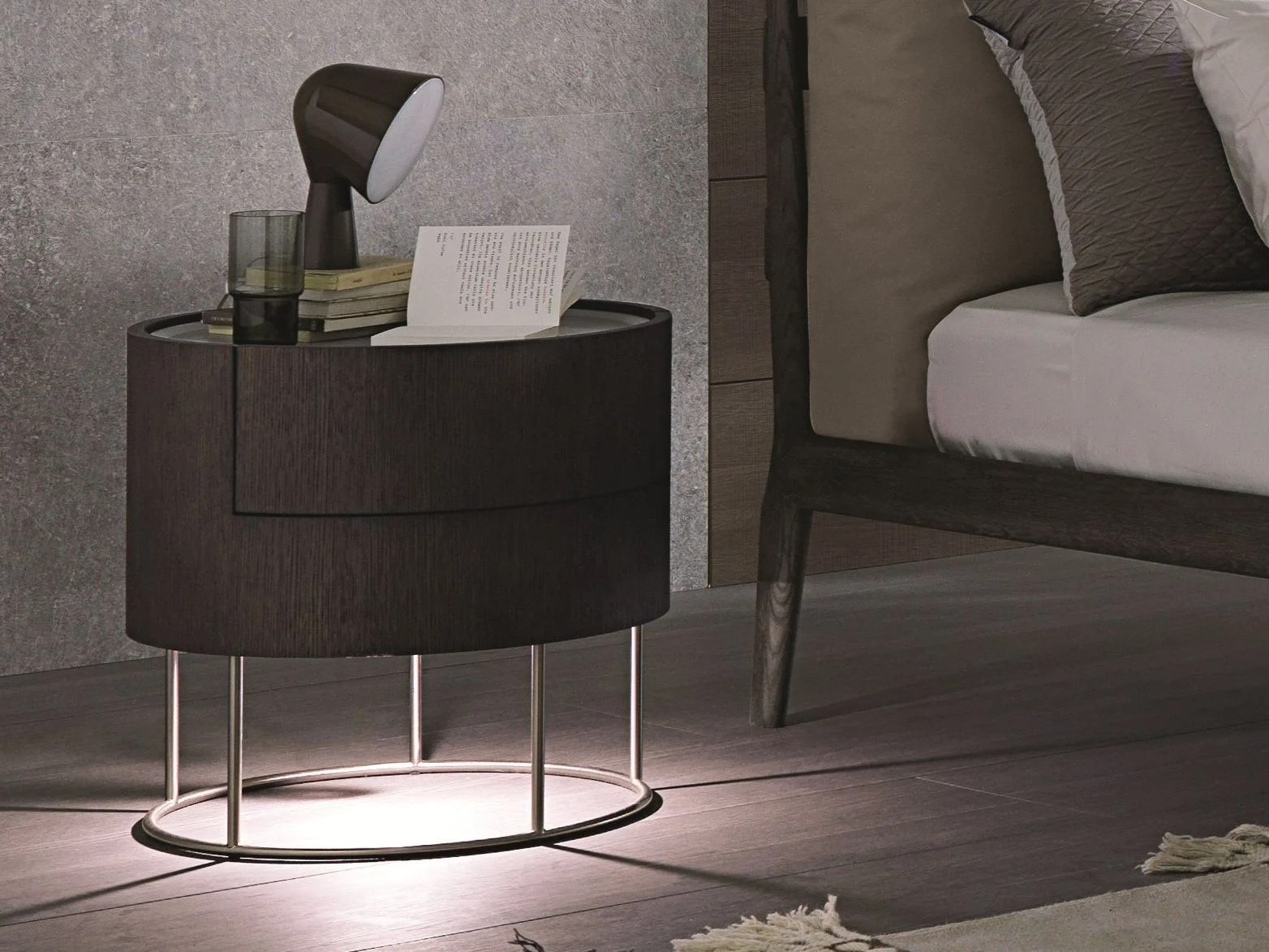 Round Oak Bedside Table With Drawers With Built-in Lights