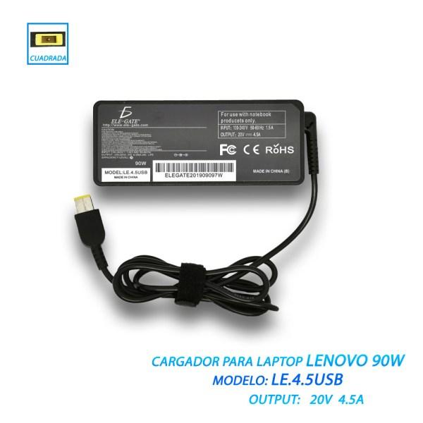 Cargador Laptop Lenovo 90w 20v 4.5a Usb Punta Cuadrada