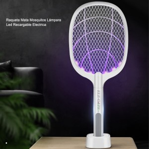 Raqueta Mata Mosquitos Lámpara Led Recargable Electrica