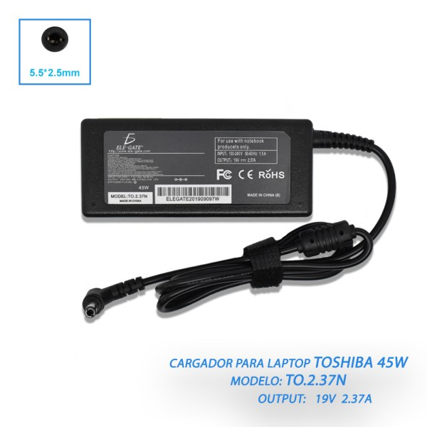 Cargador Laptop Compatible Toshiba Mini 19v 2.37a 5.5*2.5mm