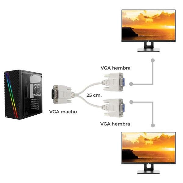 Cable Divisor Vga Video Splitter 2 Monitores A La Vez