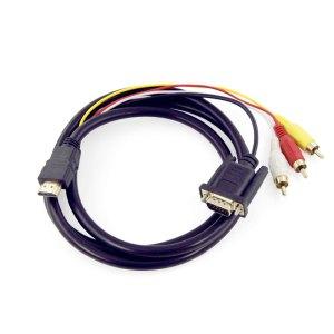 Cable Adaptador De Convertidor Hdmi A Vga 3 Rca Para Hdtv