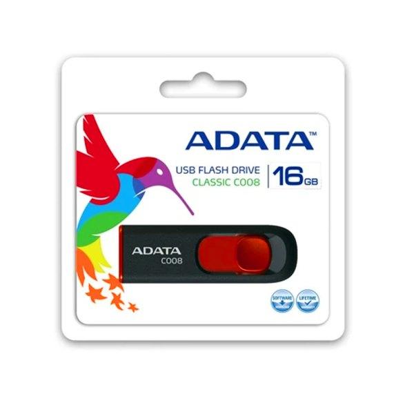 Memoria USB Adata C008 16GB 2.0 negro/rojo