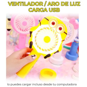 Mini Ventilador Personal Cartoon Con Aro de Luz