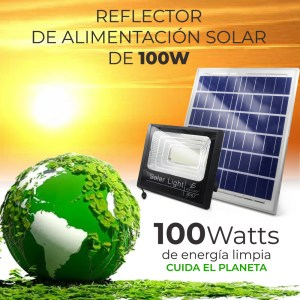 Reflector Led 100w C/ Panel Solar-control Luz Blanca Exterior
