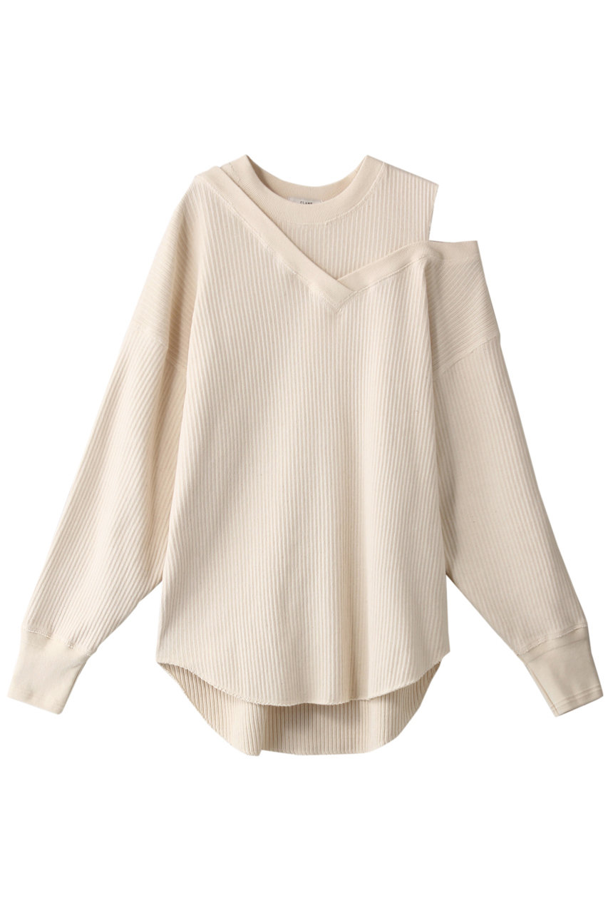 CLANE クラネ ASYMMETRY SHOULDER POINT TOPS / Tシャツ/カットソー IVORY