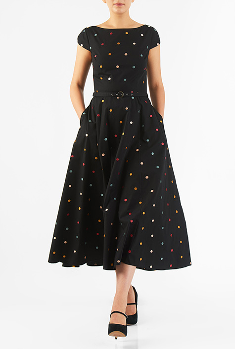 eShakti Women's Polka dot embellished cotton poplin dress
