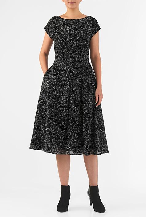 eShakti Women's Star print pleated empire georgette dress