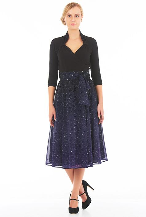 eShakti Women's Sash tie ombre star print georgette skirt