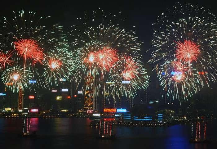 Fogos em Hong Kong