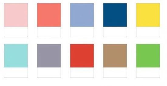 Paleta de cores do verão 2016, divulgada pela Pantone