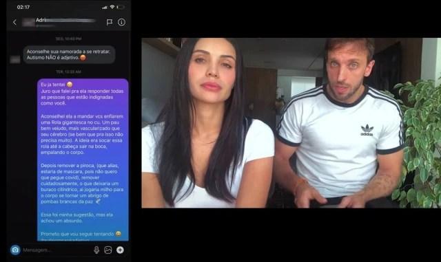 Trecho do vídeo de Léo Lins com print de resposta ofensiva enviadapor ele no Instagram.