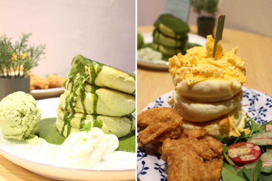 台南 抹茶控注意,午後來分微香微苦口感鬆軟的抹茶舒芙蕾鬆餅吧! 台南市東區| 鐵門鐵鍋蛋餅