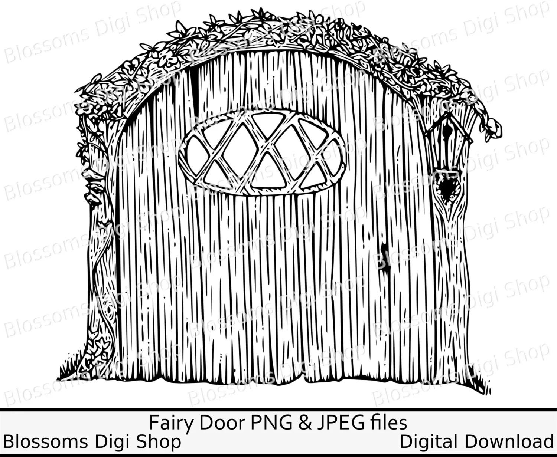Fairy Door Clipart Coloring Instant Download Faerie Clip