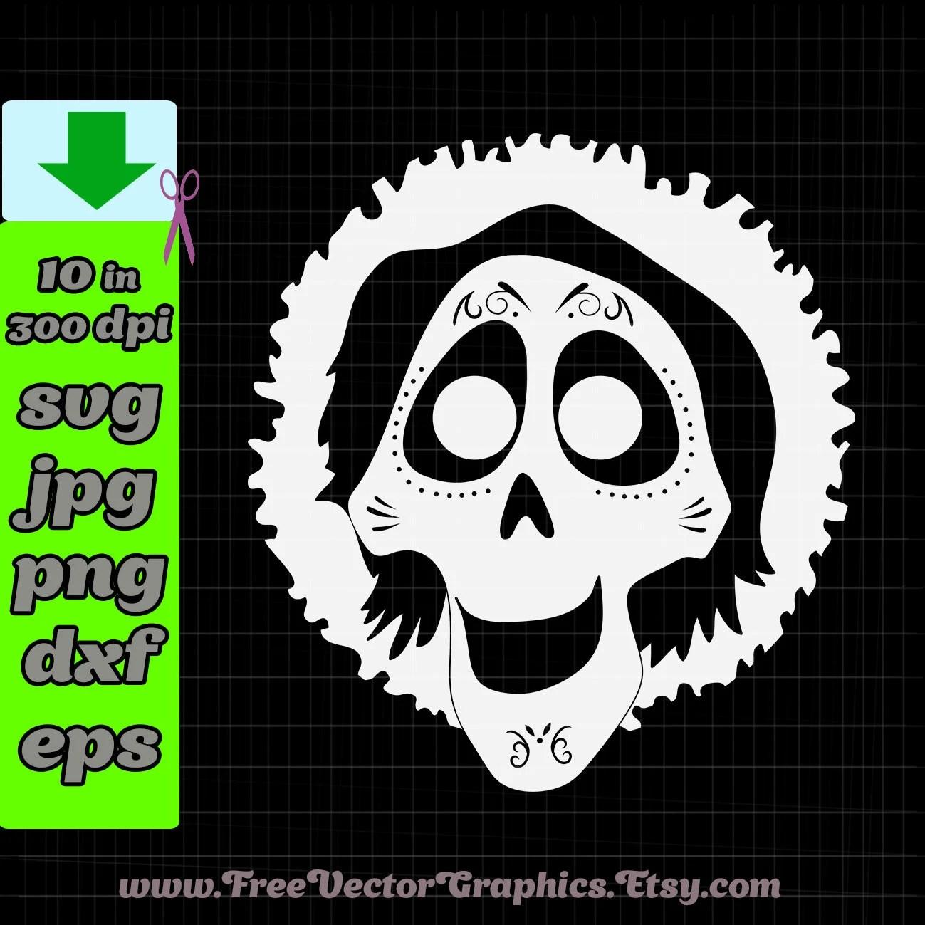 Coco Miguel Face Skull Coloring Page