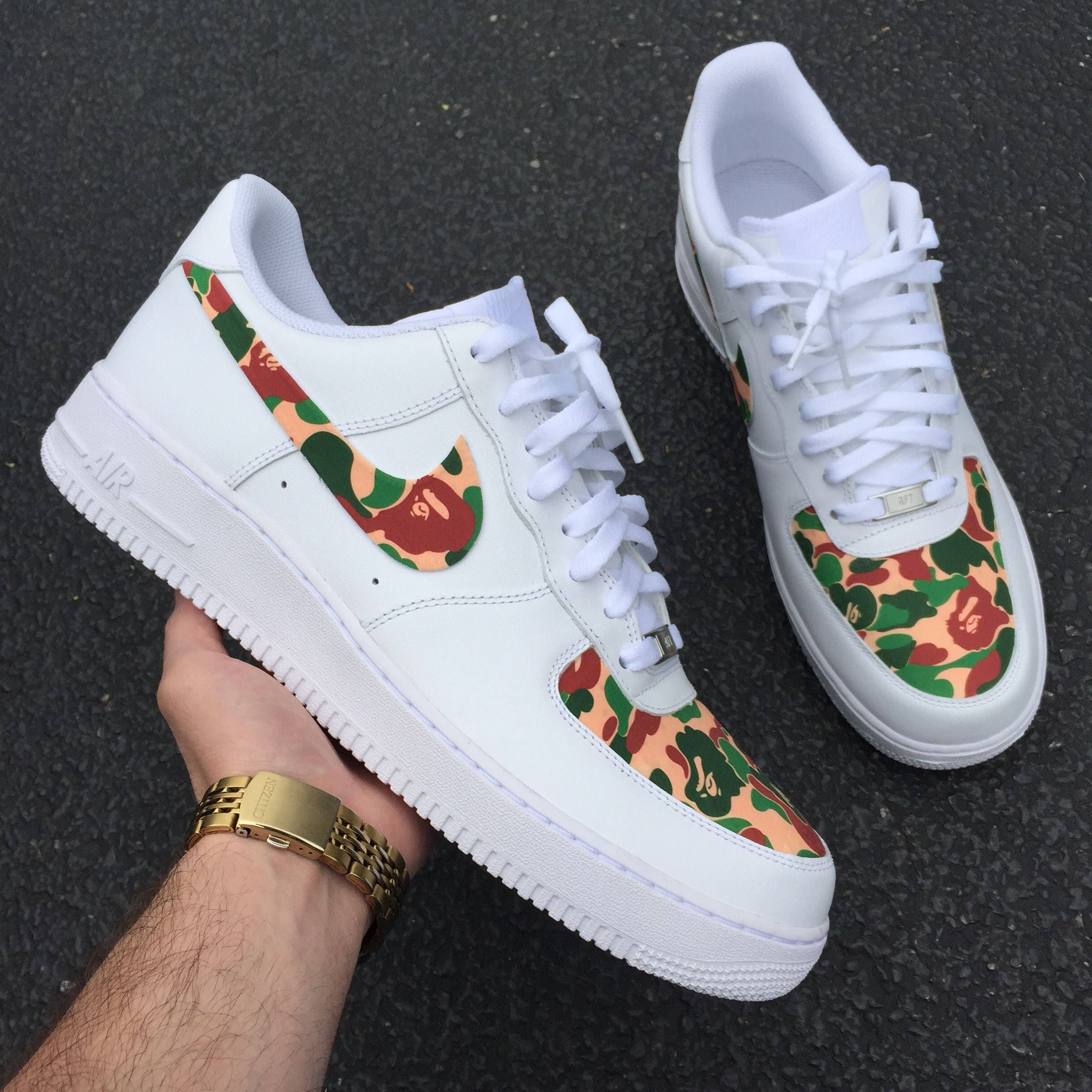 37d1a6d6d1e2 Custom Nike Air Force 1 Low Bape Military Camo