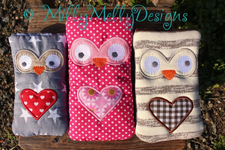 Owl phone pouches SET of 6 sizes - 5x7 hoop - ITH - In The Hoop - Machine Embroidery Design File, digital download