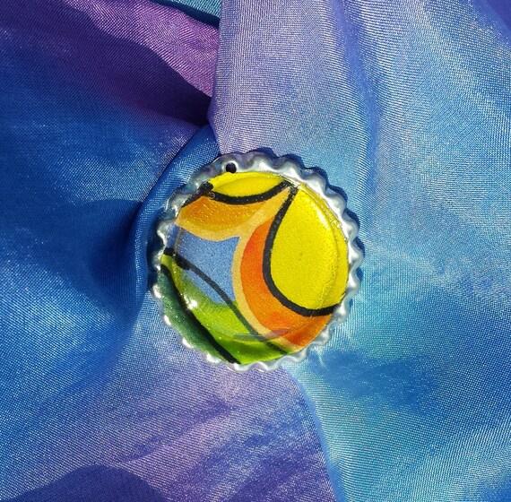 Silk brooch jewelry, Hand painted, pendant, scarf clip, no holes magnetic back, Original handmade silk art by artist M Theresa Brown, OOAK