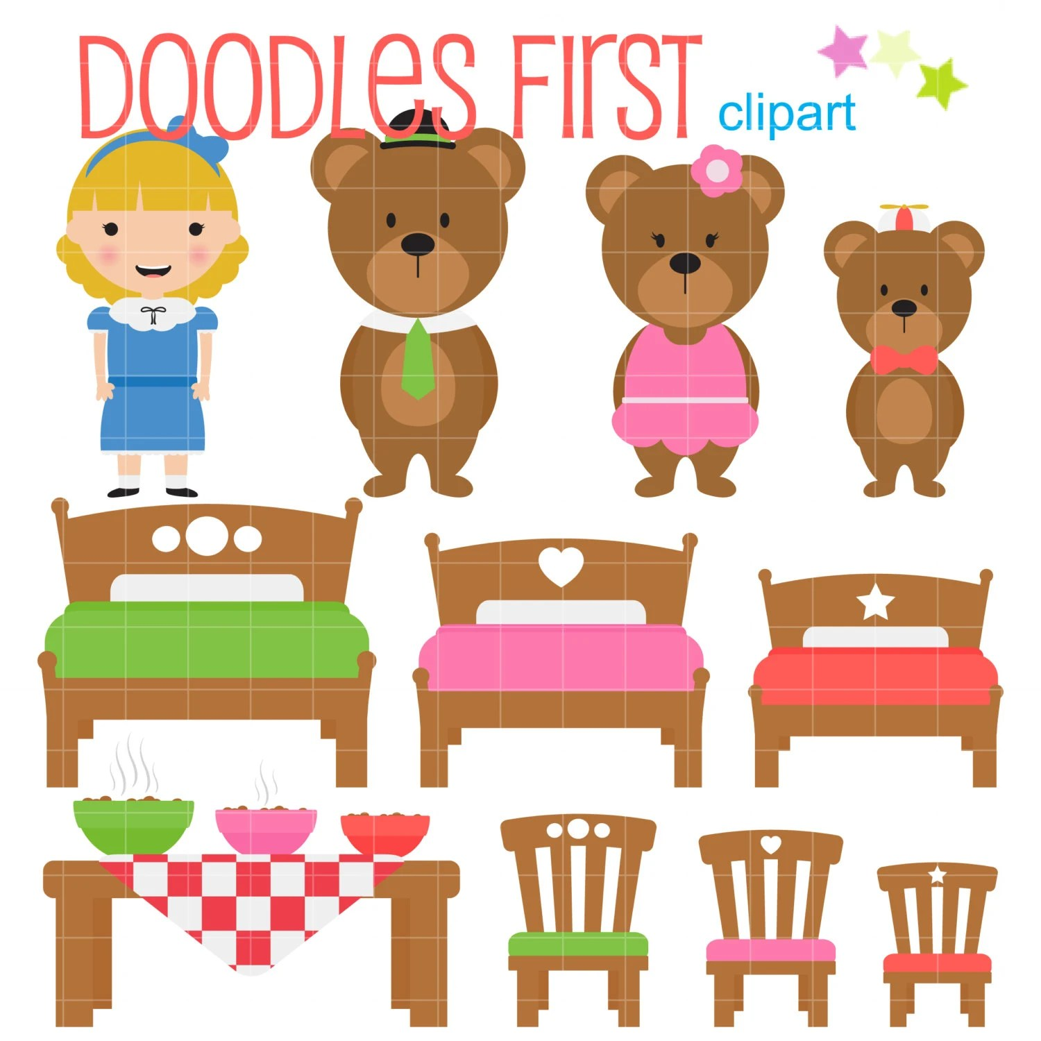 Goldilocks And The Three Bears Digital Clip Art For