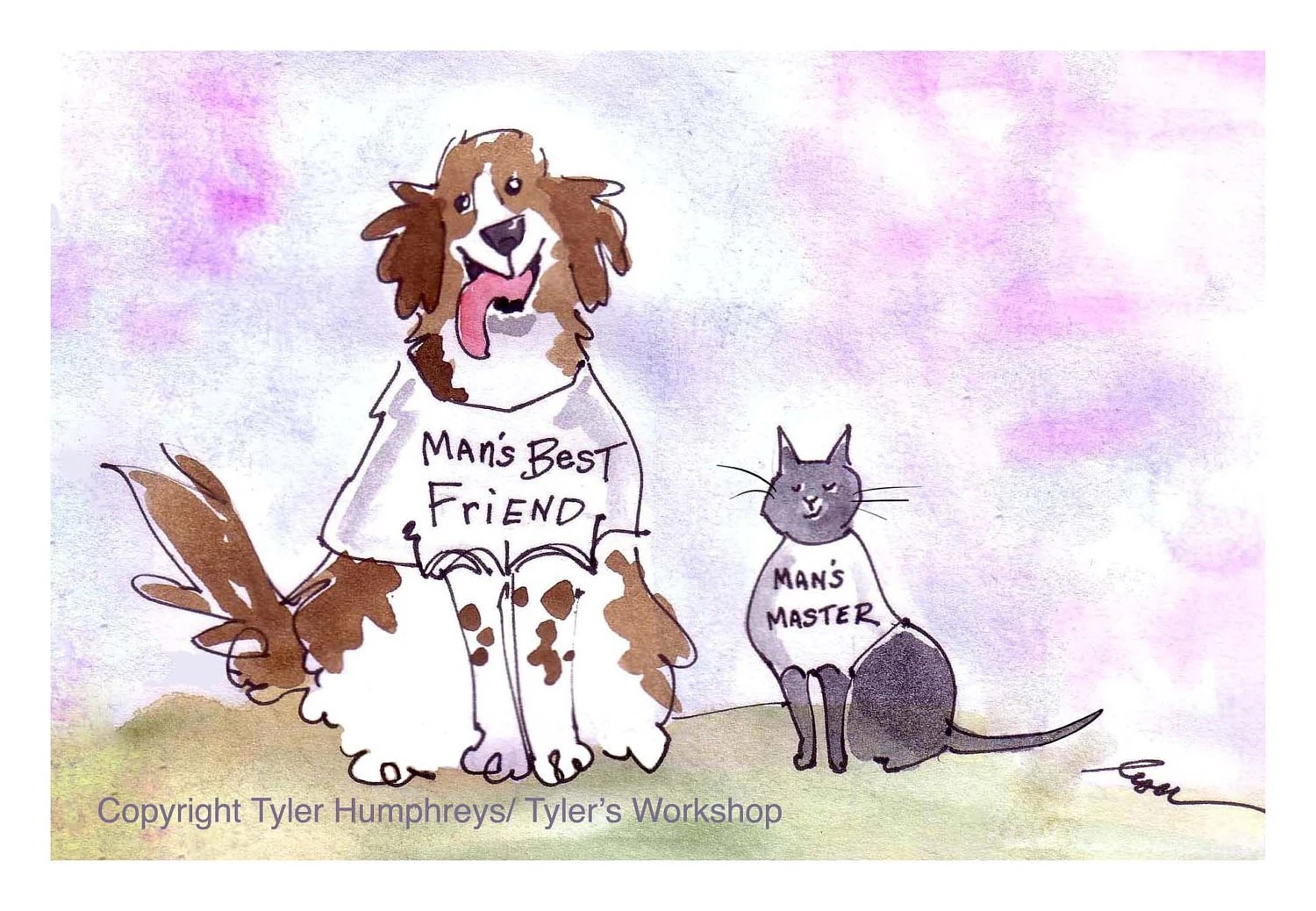 Funny Cat And Dog Greeting Card Pets Cartoon Illustration