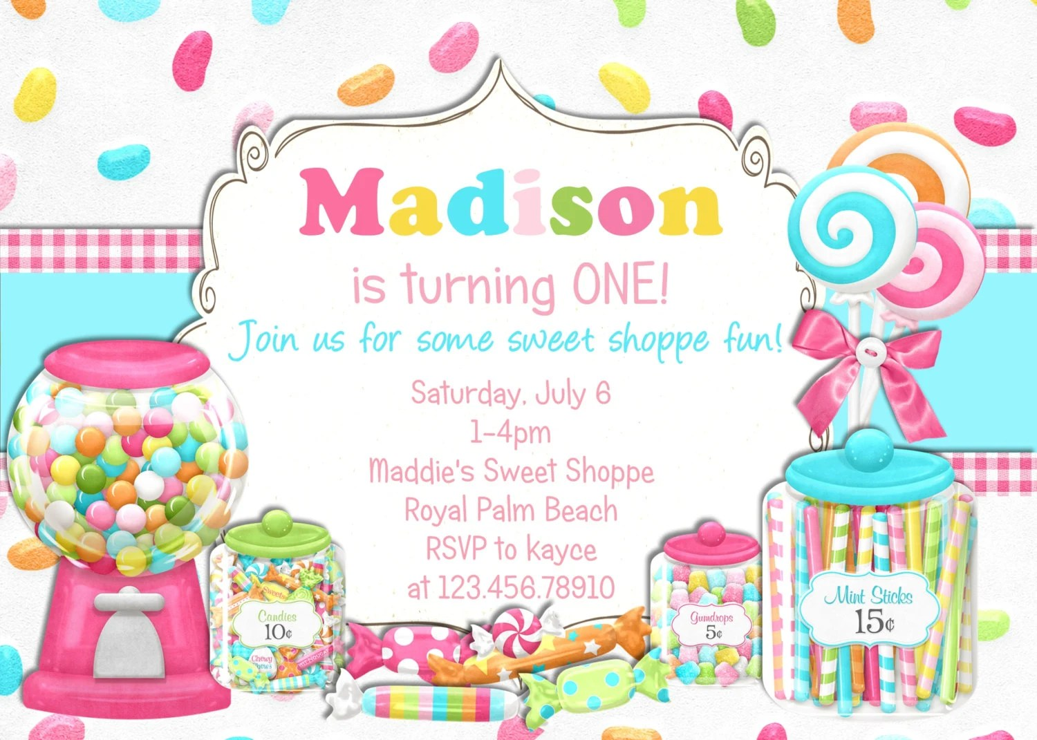 Bright Candy Shoppe Birthday Invitation Printable Choose