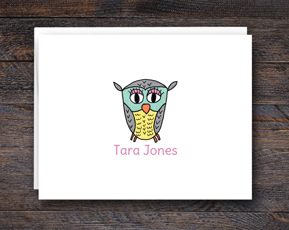 Owl Note Card Set - Folde...