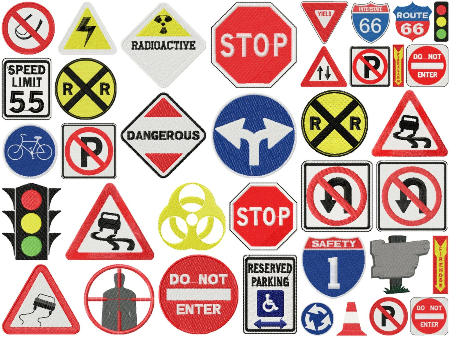 Road Sign Designs For Embroidery Machine Instant Download