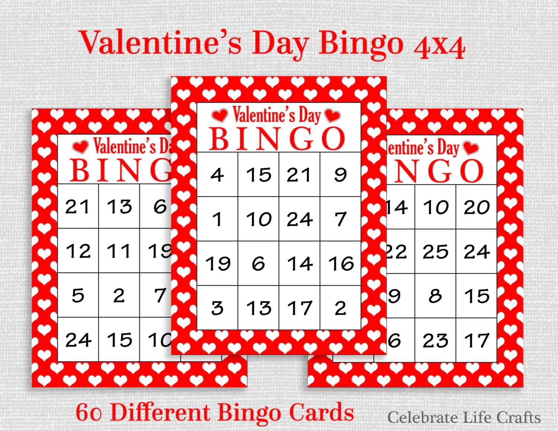 Valentine Bingo Game 60 Printable Valentine S Bingo