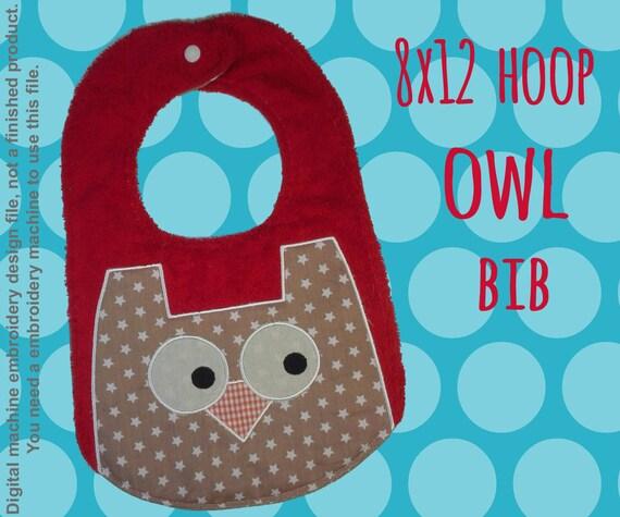 8x12 hoop - BIB - OWL - Machine Embroidery Design File, digital download