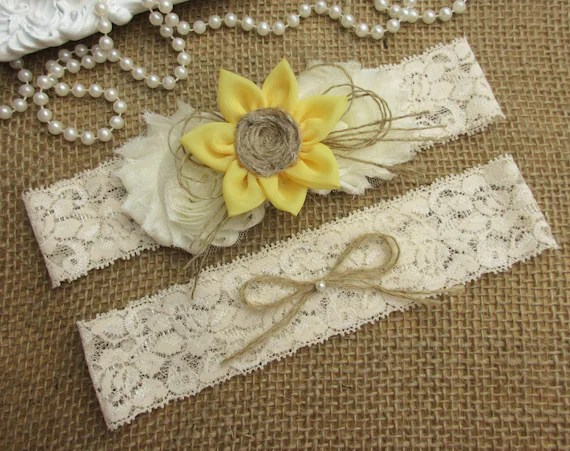 Sunflower Wedding Garter SetRustic Country Chic Wedding