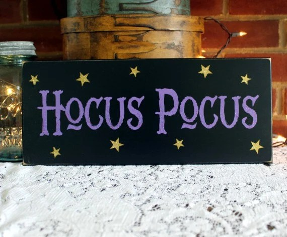 Halloween Sign Hocus Pocus Wood Sign Witch Magic Plaque Wall