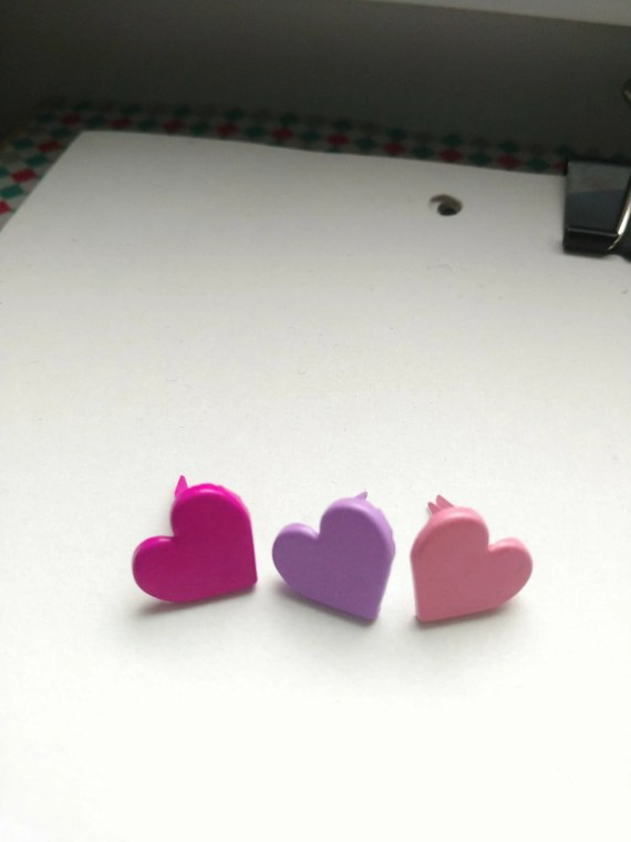 Set of 12 French Heart Brads