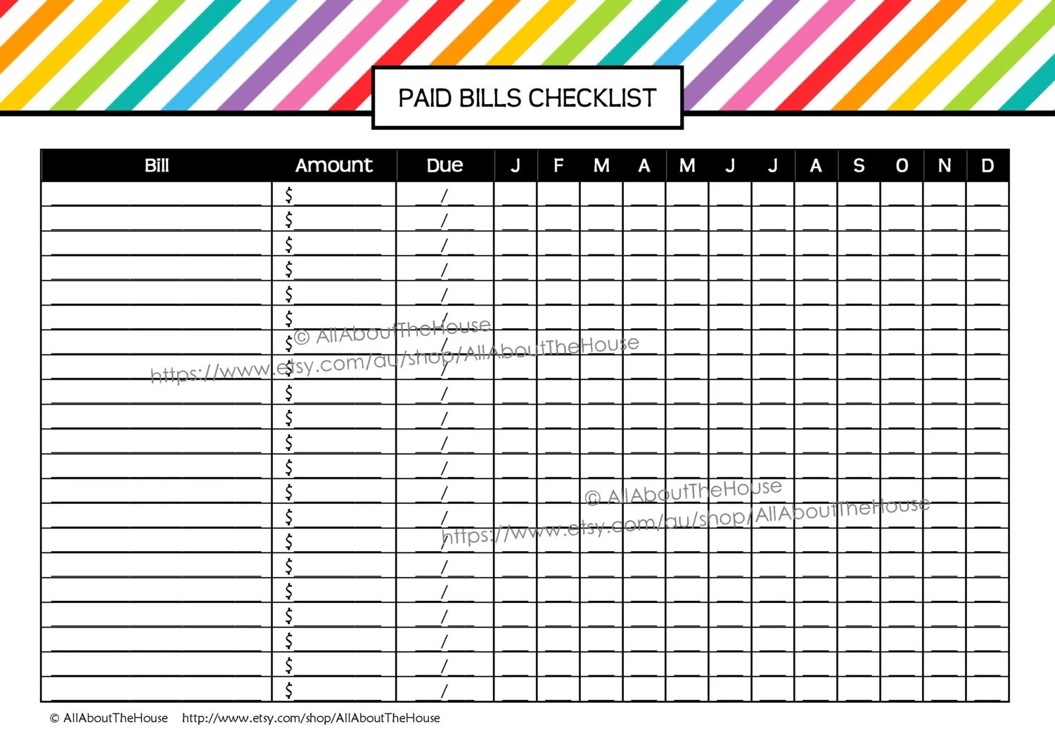 Bill Printable Editable Rainbow Stripe Paid Bills Checklist