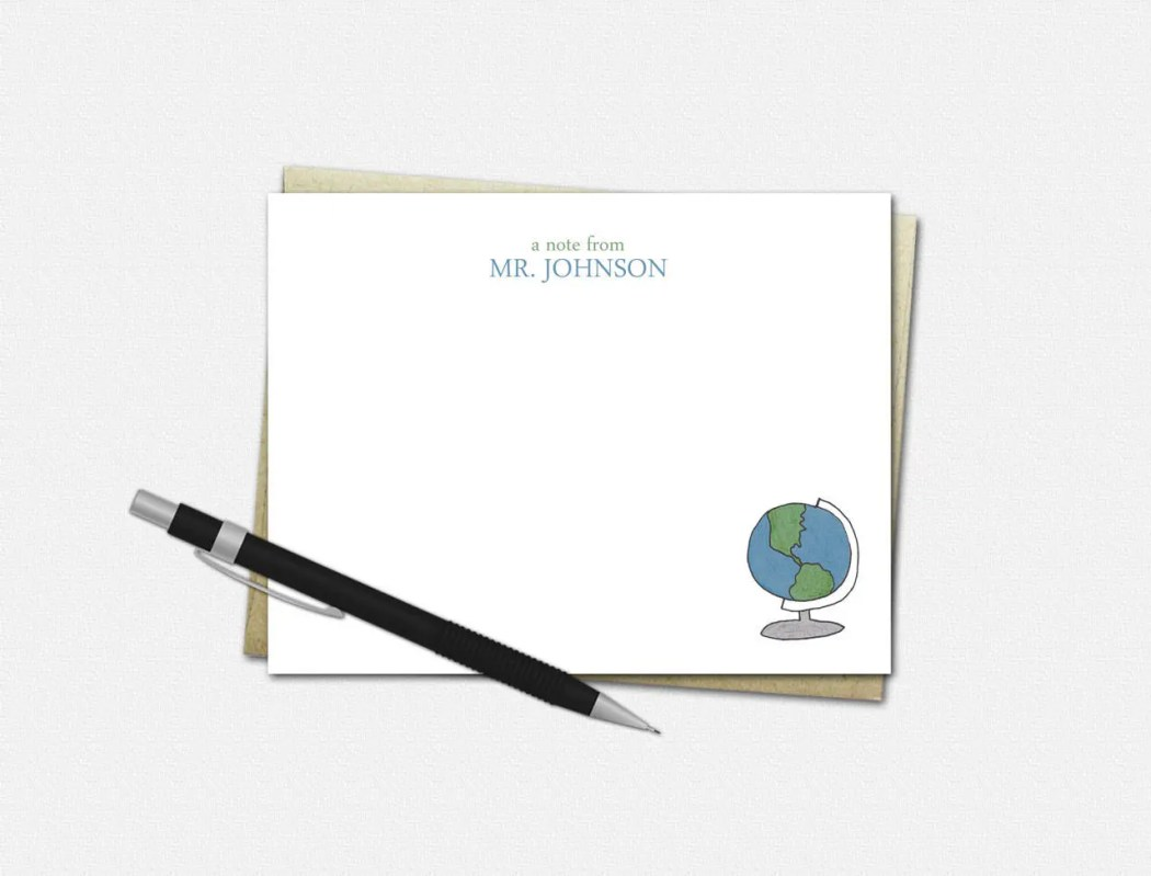 Globe Note Cards - Person...