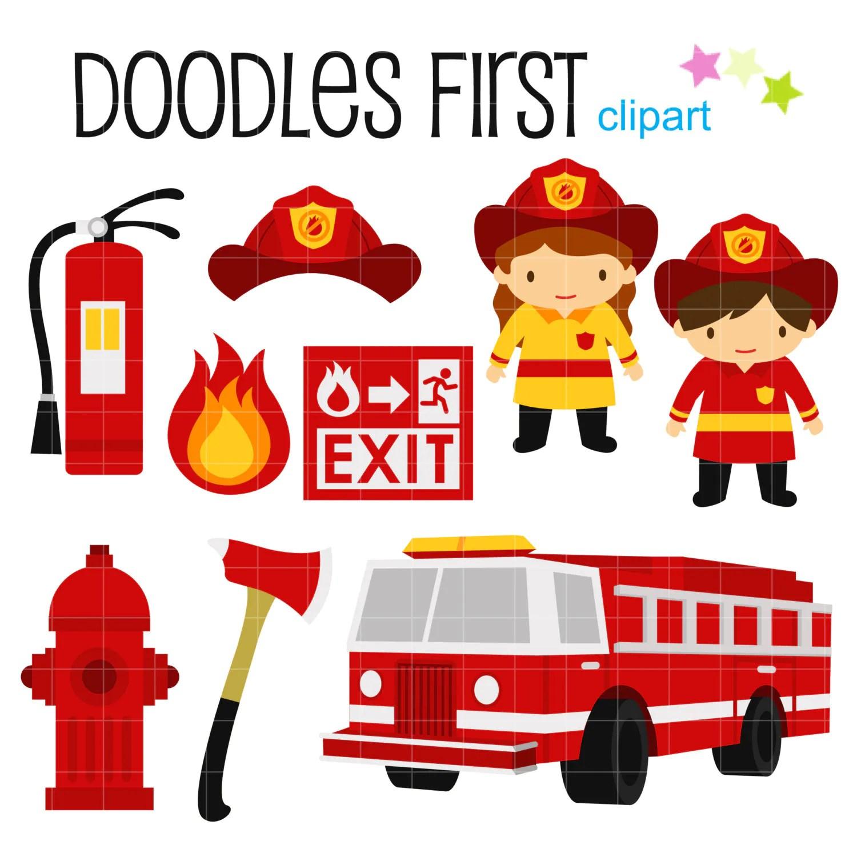 Little Firefighters Digital Clip Art For Scrapbooking Card