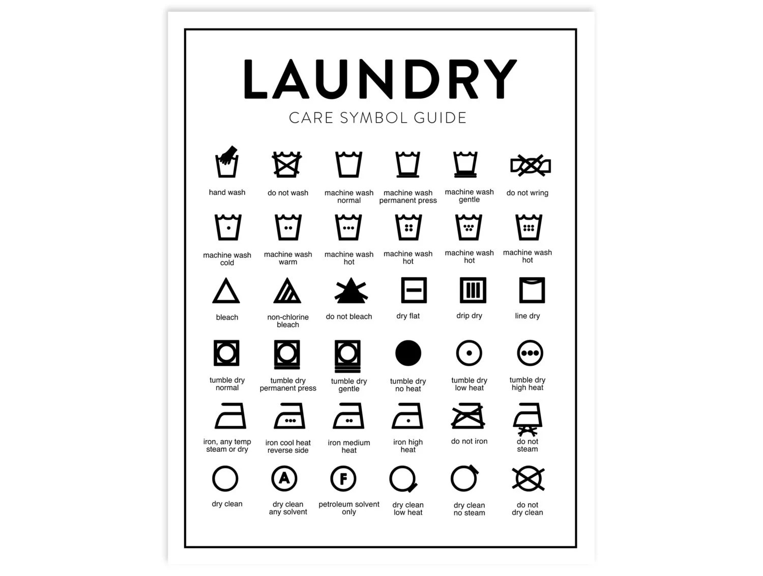 Laundry Care Chart Printable Letter Size Instant Download