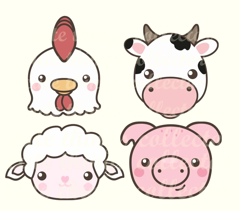 Sale Cute Farm Animals Cow Hen Chicken Pig Sheep Kawaii Clip