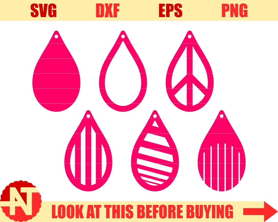 Download Tear drop SVG Pendant SVG Dangle earrings svg Leather earning