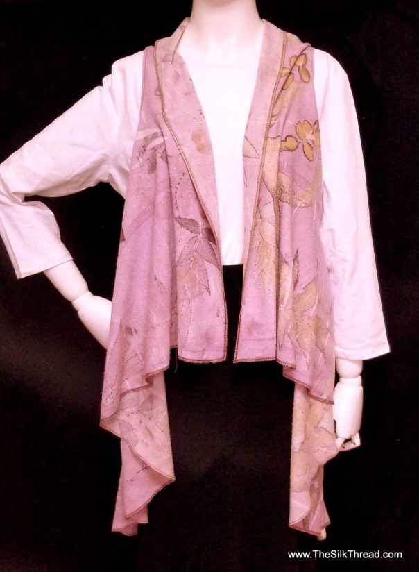 Lavender Vest, Ecoprinted, Flattering Hand Crafted Swing Design,Sustainable Art,Natural Designs from Nature, Fits All Sizes, Free US ship