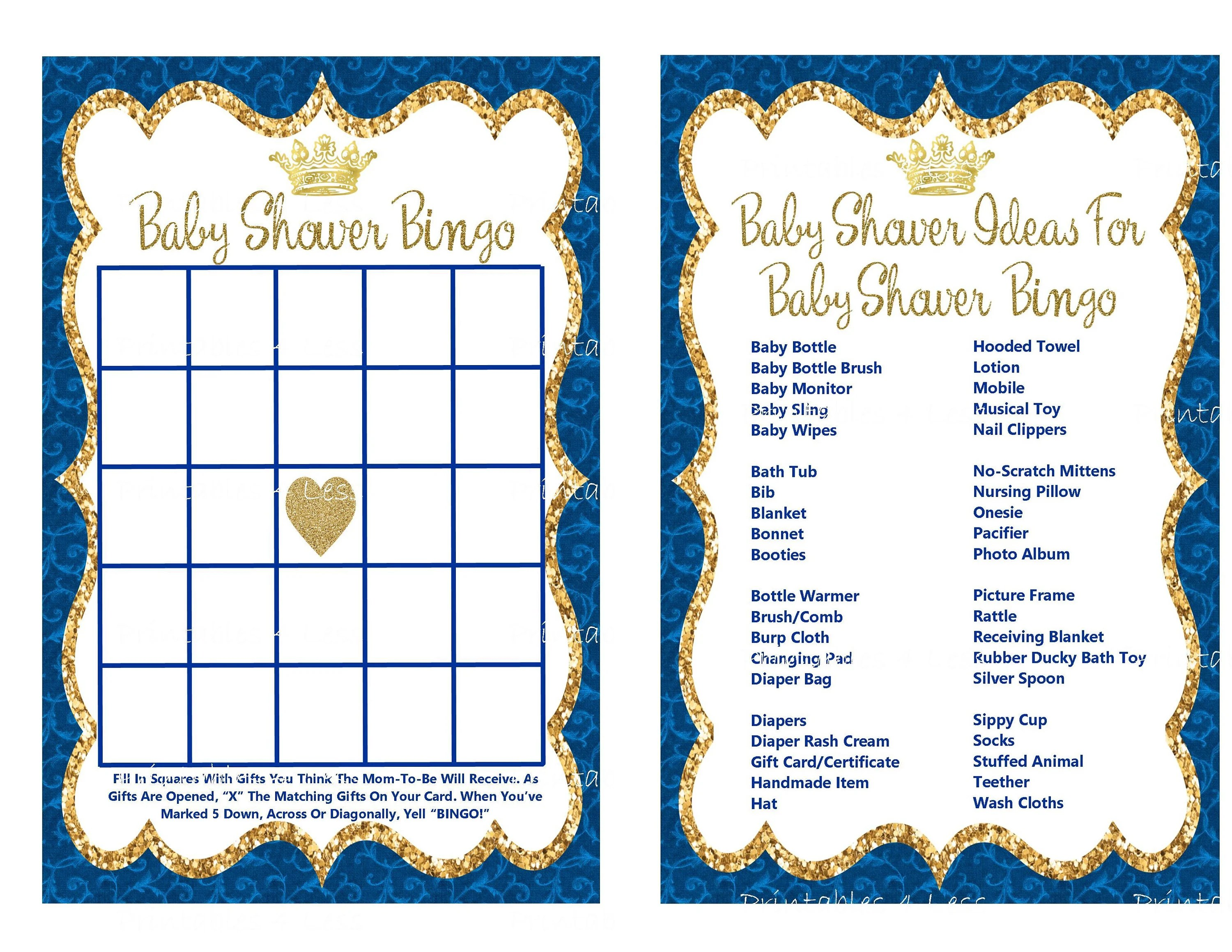 Prince Bingo Game Card Printable Prince Baby Shower Bingo