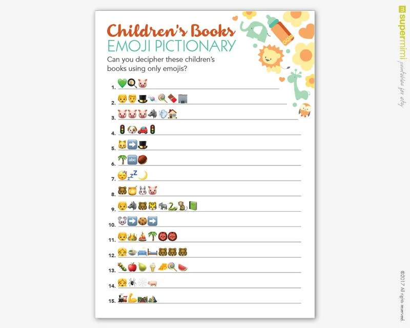 Baby Shower Games Answer Sheet