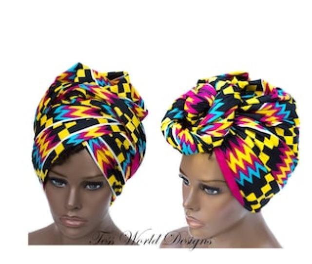 Kente Print Headwraps Turban African Head Wraps Turban Headwrap African Hair Accessory