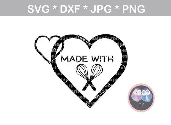 Download Made with Love heart Homemade wisk baking svg dxf png jpg