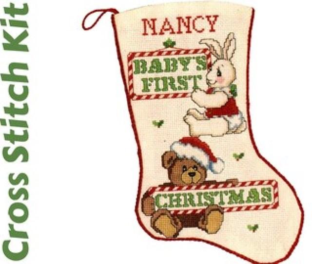 Babys First Christmas Stocking Cross Stitch Kit Bucilla Cross Stitch Stocking Kit Baby Christmas Gift Bucilla Stocking Kit Xmas Stocking Kit
