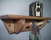 Wooden shelf with hooks, ...