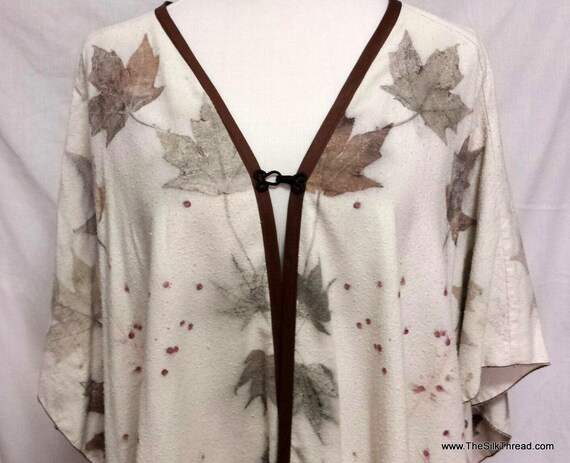 Tunic, Eco-printed,Hand Crafted, Dolman Sleeves, Soft Silk Noil, Fits All Sizes, Natural Designs from Nature Maple & Rose, Free USA ship