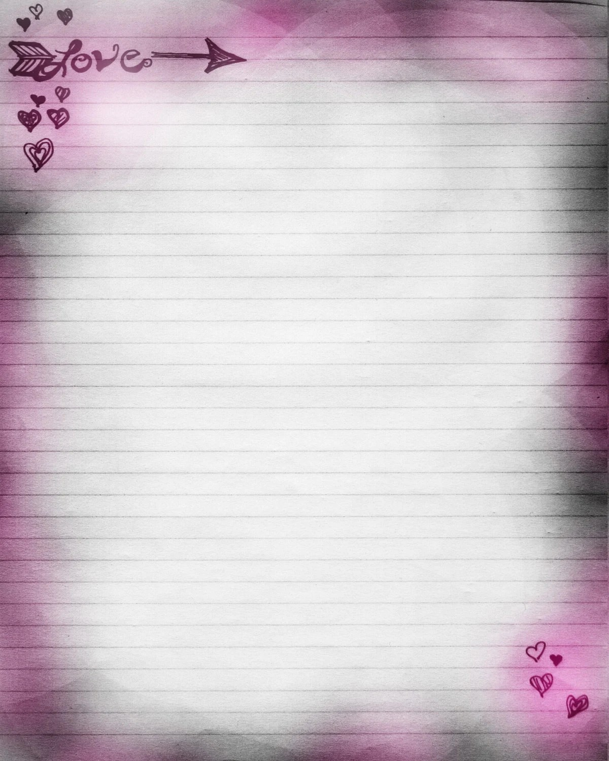 Printable Journal Page Love Hearts Lined Stationery 8 X 10