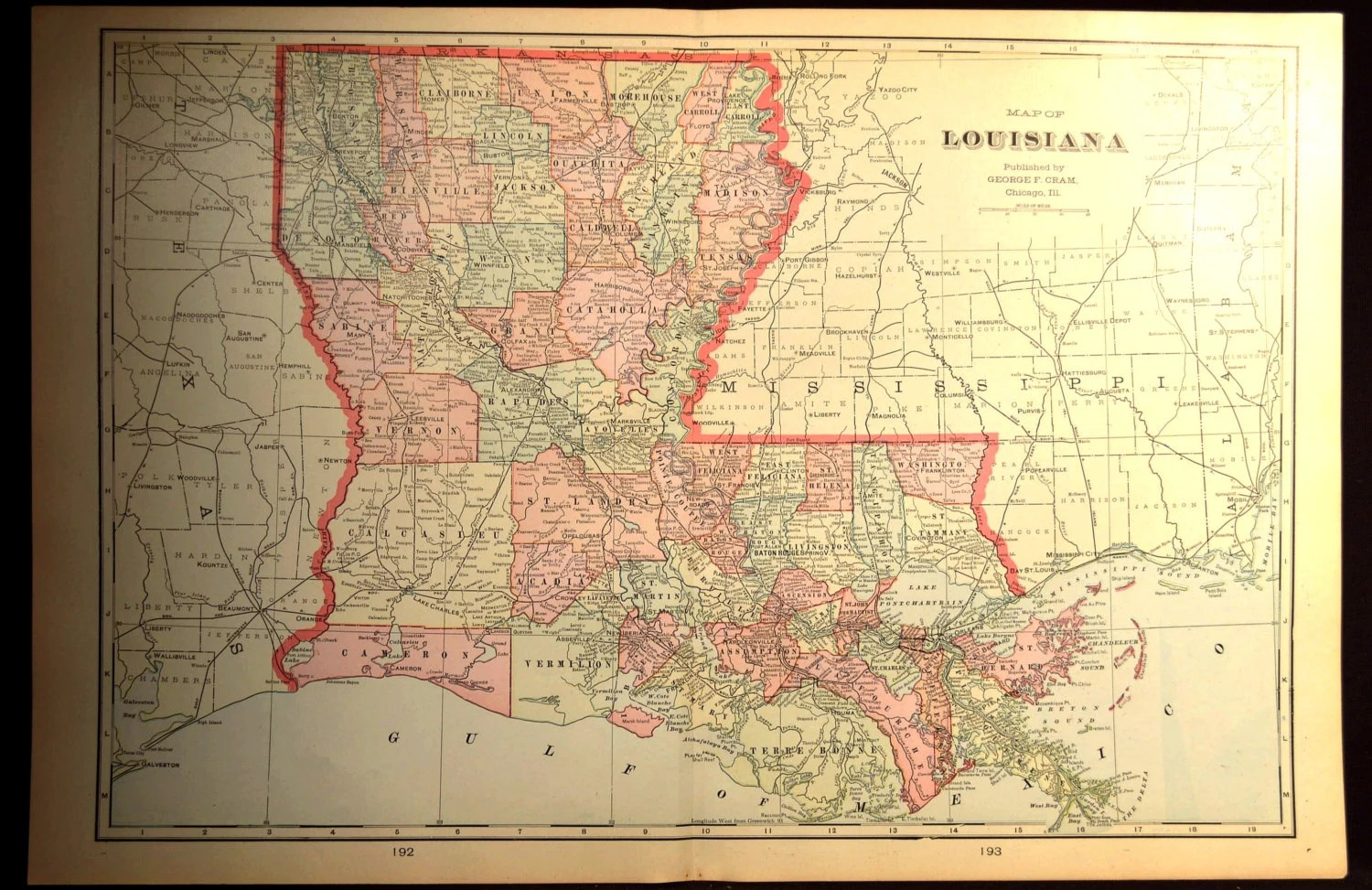 Map Louisiana Map LARGE Antique Original Early 1900s         zoom